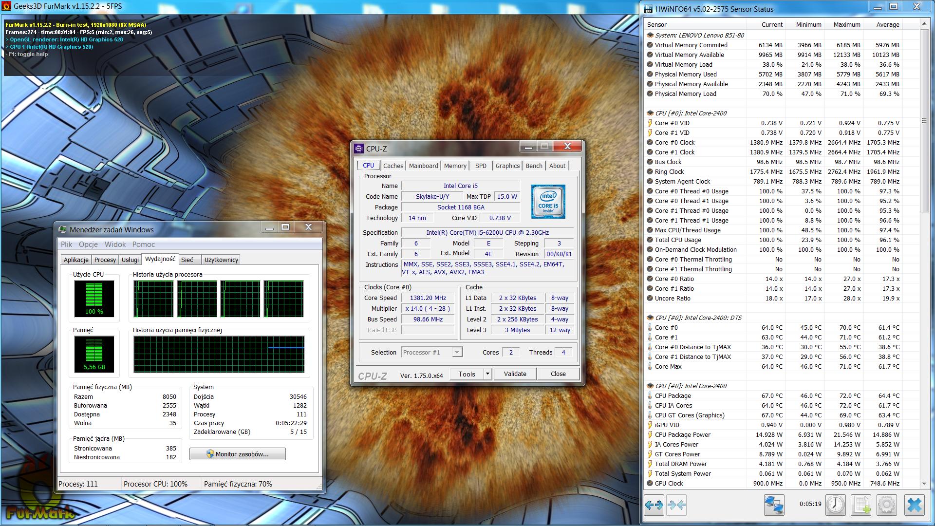 zaniżanie taktowania CPU przy pełnym obciążeniu CPU i GPU