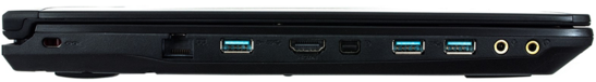 lewy bok: gniazdo blokady Kensingtona, LAN, Power USB 3.0, HDMI, mini DisplayPort, 2 USB 3.0, 2 gniazda audio