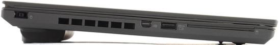 lewy bok: gniazdo zasilania, wylot powietrza z ukłądu chłodzenia, mini DisplayPort, USB 3.0 (z funkcją zasilania), czytnik kart inteligentnych (Smart Card)